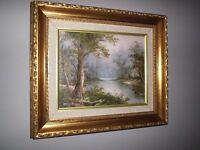 Small Original Cantrell Oil Painting, signed, ornate gilt frame, 38 x 33 cm