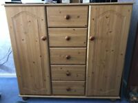 Pine chest of drawers and cupboard