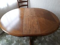 Solid Oak Round/Oval Table and 4 Oak chairs - Nr Yeovilton