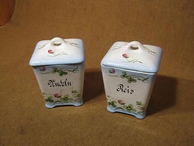 """███►2 alte Vorratsbehälter """" Nudeln & Reis """" /Porzellan -- um 1900"""