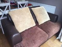 Brown Leather and Fabric 2 Seater Sofa