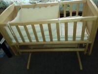 Mothercare Swinging Baby Crib/Cot - Rock The Baby To Sleep