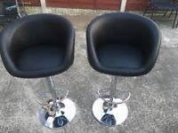 Two Faux leather bar stools
