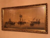 Large antique print - boats and shipping off coast