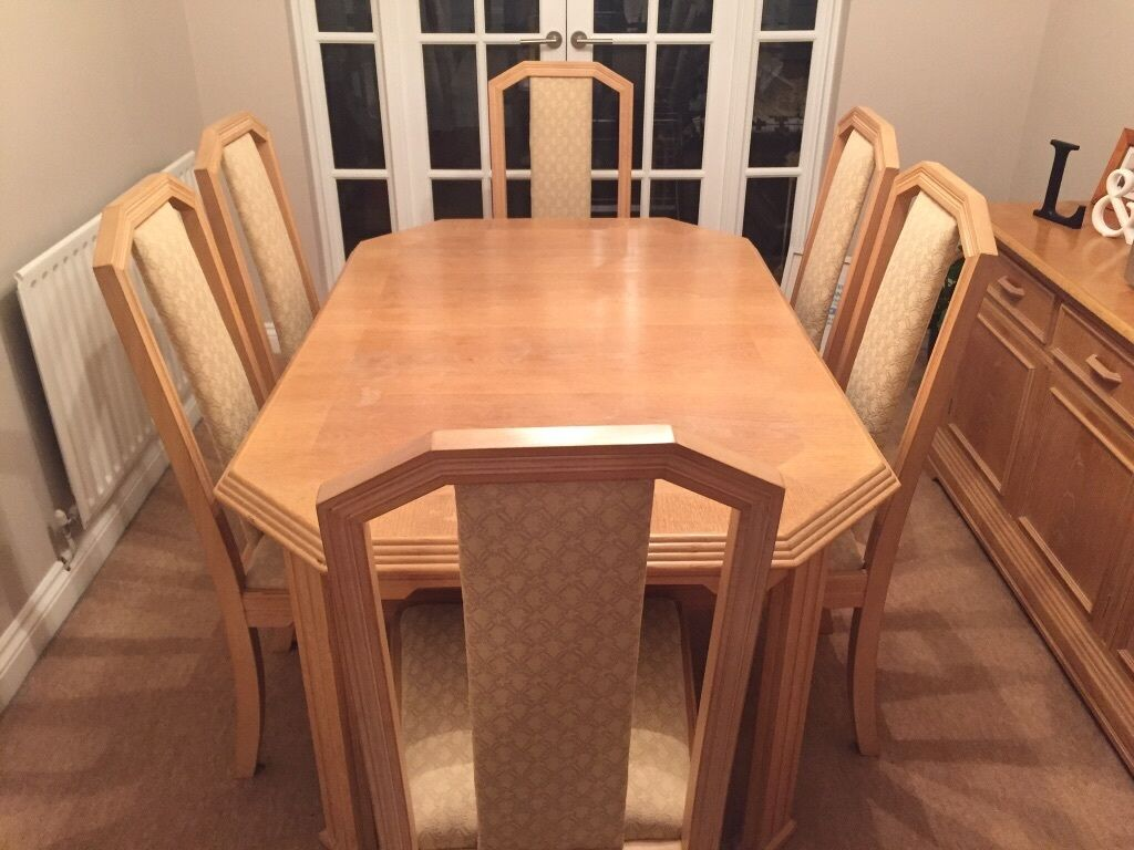 Wade Oak Extendable Dining Room Table Side Board Six Chairs