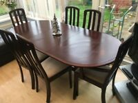 Christmas dining table & 6 chairs - can easily sit 10