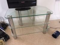 Glass shelves tv unit