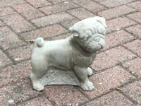 Concrete garden pug dog ornament