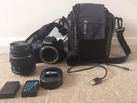 Canon EOS 100D Camera + 18-55mm Lens + Extra Batteries + SD Card + Bag