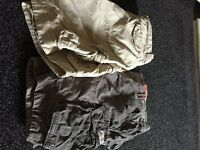 Superdry mens heavy field cargo shorts - two pairs for sale, one stone and one khaki. size 2XL
