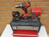 Milwaukee Fuel BRUSHLESS 18v Li-ion Combi drill, 3x 4ah batts, charger,case,USED.