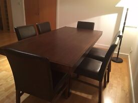 fishpools modern mahogany finish dining table, 6 chairs, sideboard, console table, 2 lamp tables