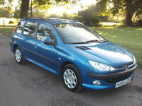 2005 PEUGEOT 206 SW 1.4, MOT SEPTEMBER 2017, ONLY 74,000 MILES, ONLY £695