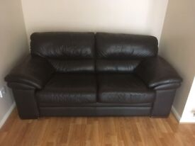 2 x Brown Leather Settees