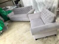 3 seater Chelsea velvet sofa and velvet cuddle chair velvet