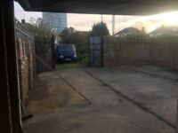 Private gated Yard with 3 garages