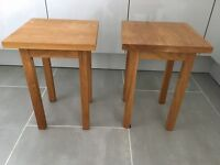 Pair of solid oak side or lamp tables beautifully made