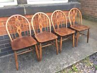 4 Ercol dining table chairs (delivery available)