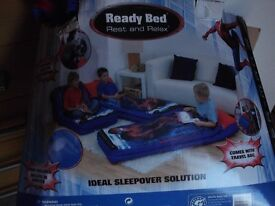 boys spiderman blow up ready bed plus pump.