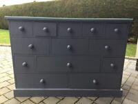 Dresser Storage Unit. 13 drawer. Dark Grey. Solid wood.