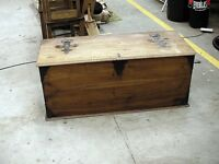 Large walnut trunk / blanket box 120cm x 50cm x 50cm