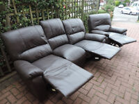 Leather Recliner 3 Seater Sofa + Recliner Armchair