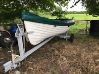 15ft Down Craft open rowing boat with trailer and cover Bargain.