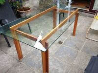Glass table/desk with beautiful wooden frame for sale. 6ft long 3ft wide, perfect condition.