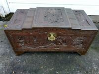 A Carved Oriental Blanket Box Chest Trunk Solid Wood
