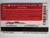 Annual pass valid for all USA National Parks and National Monuments