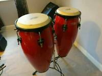Pair of Stagg red congas