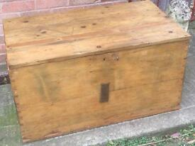 Vintage old Victorian pine blanket box coffee table