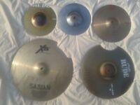 "various cymbals inc zildjian 18"" medium thin crash,paiste 16"" rude +10"" cup bell chimes/mini hi hats"