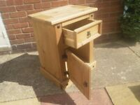 Bedside drawer and cupboard unit, cabinet, solid wood, newly waxed, shabby chic ready