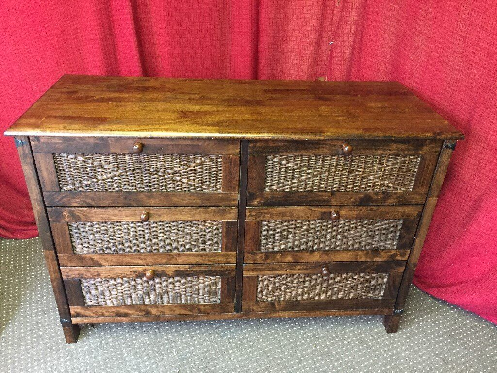 DARK WOODEN CHEST OF SIX DRAWERS, TRANSPORT AVAILABLE