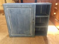 Blue painted wooden Bathroom cabinet with internal mirror, for hanging on wall