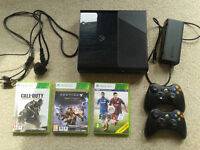 Xbox 360 console, 500GB hard drive, 2 wireless controllers, 3 games