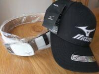 Mizuno belt and hat