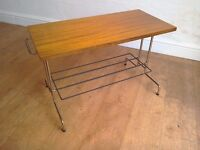 Retro teak side table / small coffee table with magazine rack