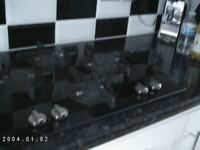 Gas Hob (4 burner) Black Glass by Hotpoint