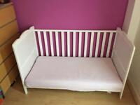 Cot bed/ toddler bed. Great condition, white, breaks down into pieces. Collection only.