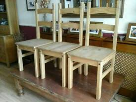 Pine Dining Chairs x 3