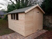 BRAND NEW 10x8ft HEAVY DUTY APEX SHED 2X2 FRAMING FULL TONGUE & GROOVE £595