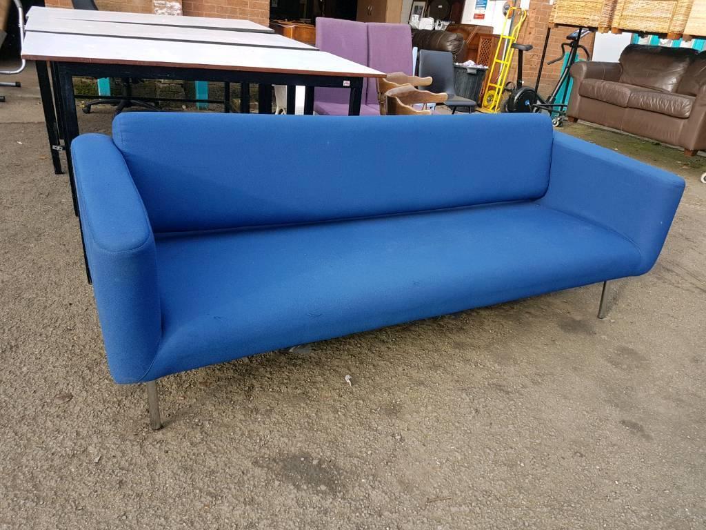 Light blue fabric reception sofa