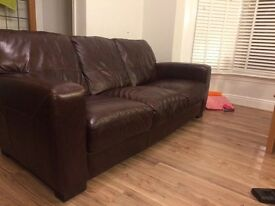 3 seater leather sofa and single chair