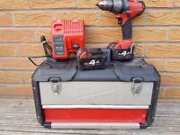 Milwaukee Fuel BRUSHLESS 18v Li-ion Combi drill, 2x 4ah batts, charger,case, MAKITA DeWALT