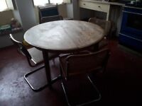 Oak veneer solid 4 seater round table and retro chairs