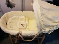 Mamas and Papas Moses basket with 2 Brand New Mattresses, covers & rocking stand