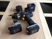 MacAllister Drill/Driver 10.8v with Charger, plus 2 Batteries (for Spares or Repair)