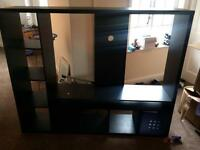 Tv stand with book case and draws